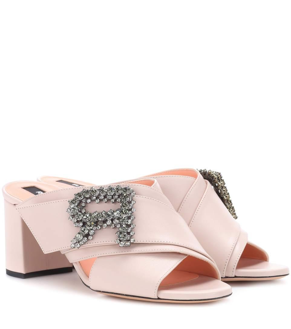 Rochas Embellished Leather Sandals In Pink