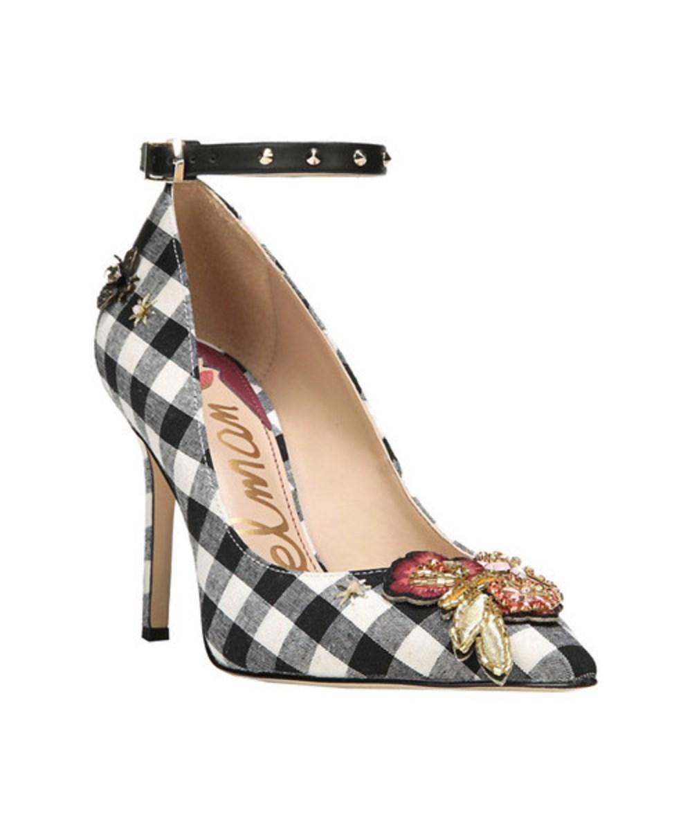 Sam Edelman Women's   Hermione Ankle Strap Pump In Black/white Fabric