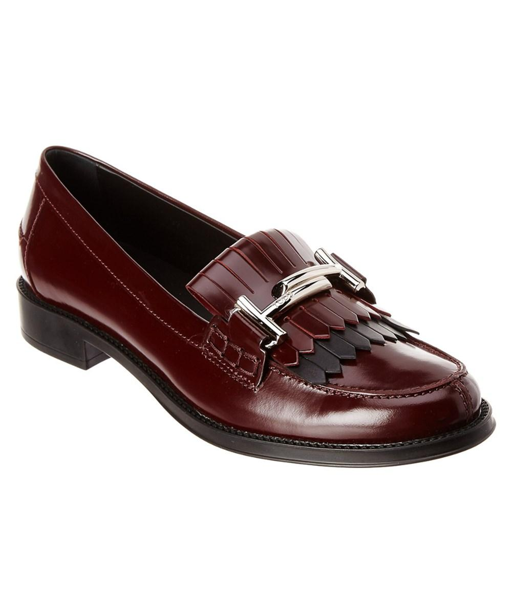 Tod's Tods Double T Leather Moccasin In Bordeaux