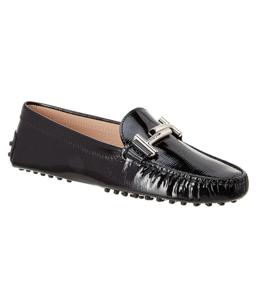 Tod's Tods Double T Gommino Patent Driving Shoe In Black