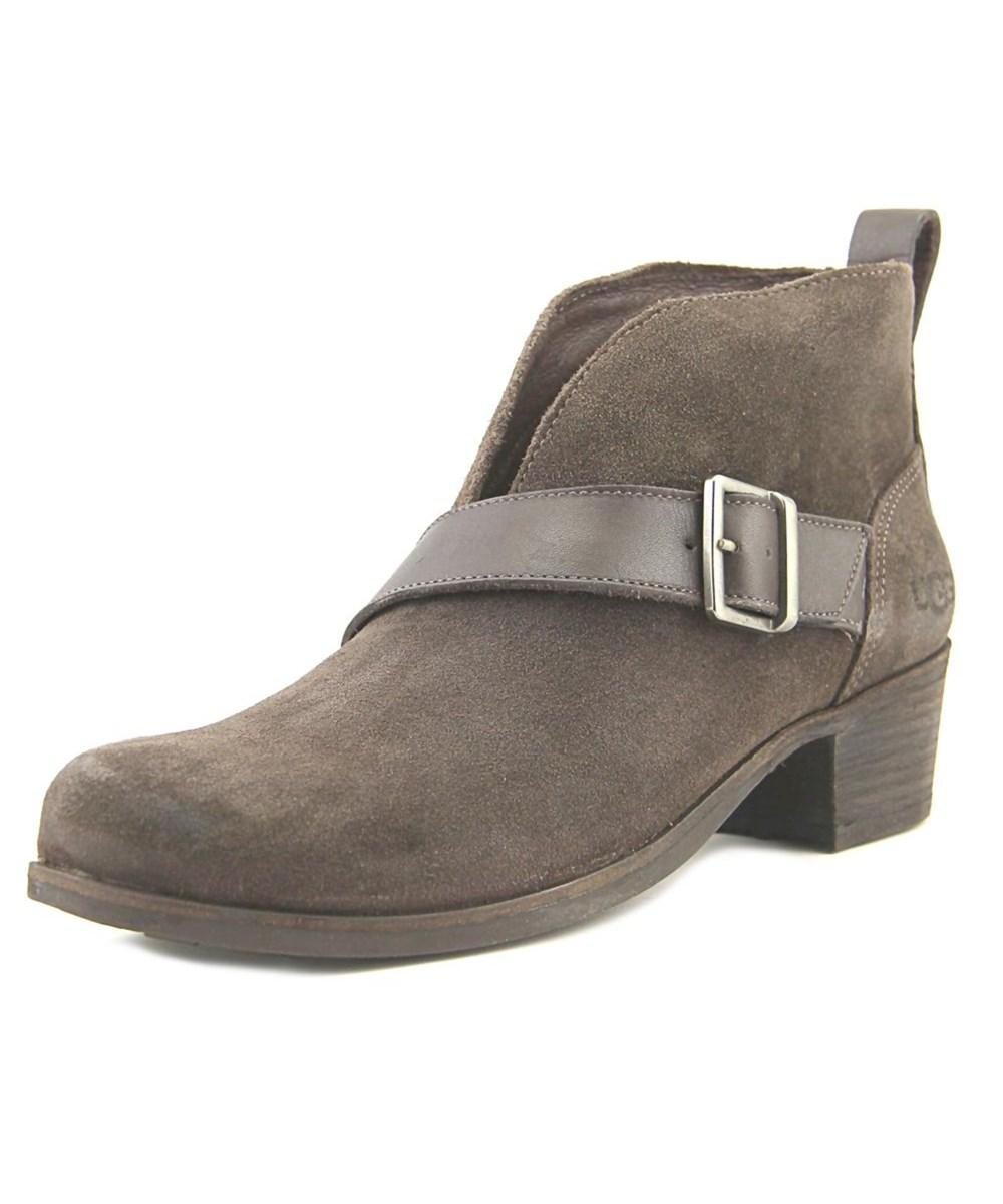 Ugg Australia Wright Belted   Round Toe Suede  Ankle Boot In Brown