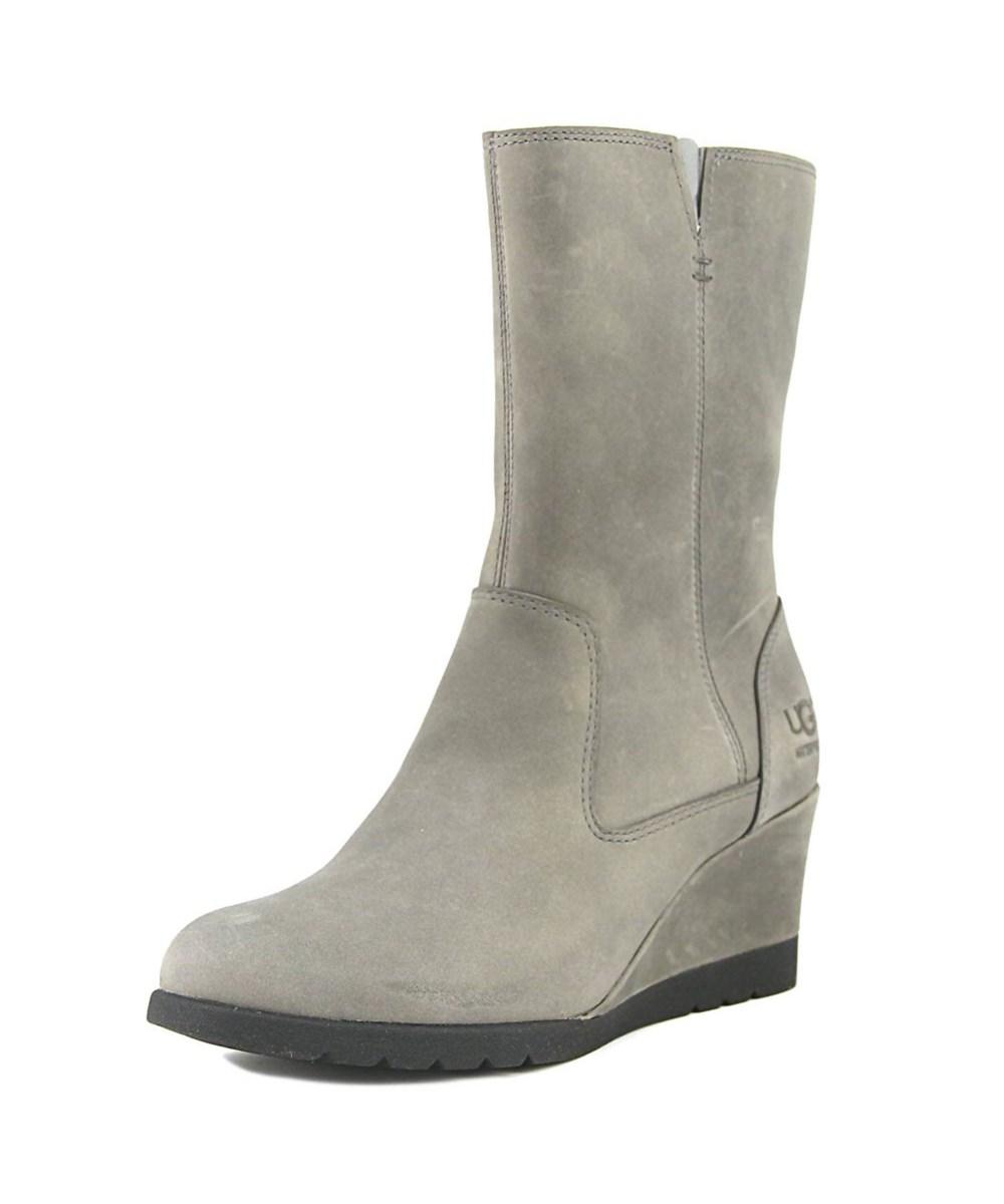 Ugg Collection W Joely   Round Toe Leather  Mid Calf Boot In Grey