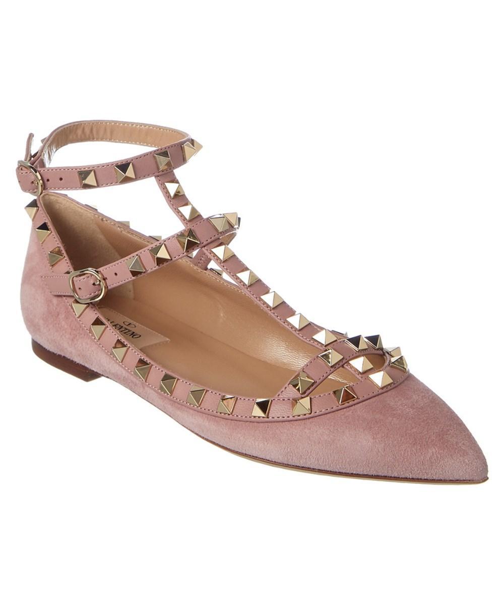Valentino Rockstud Leather & Suede Ballerina Flat In Light Pink