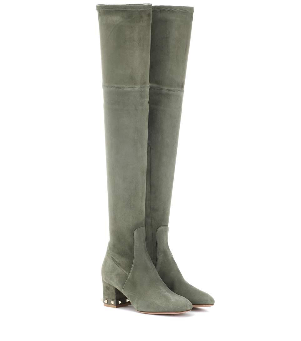 Valentino Rockstud Suede Over-the-knee Boots In Green