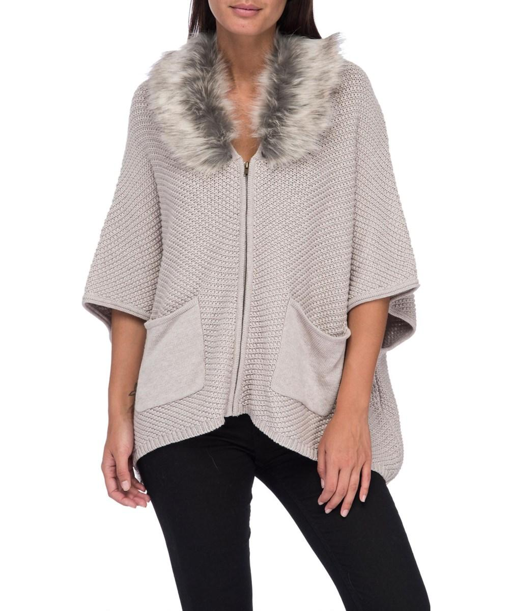Bobeau Carlie Caridigan With Faux Fur Collar In Creme Brulee