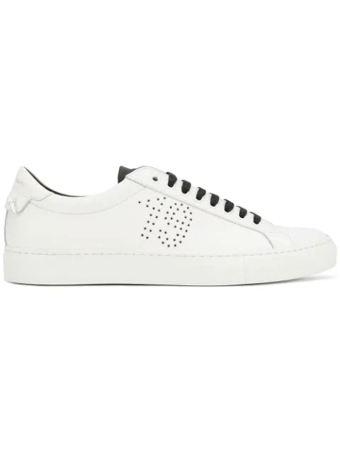Givenchy Perforated-star Low-top Leather Trainers In White