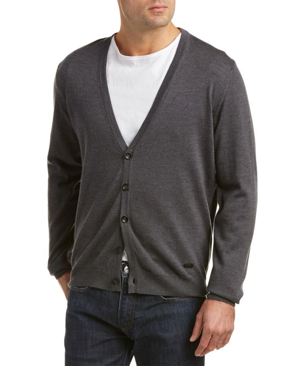 Armani Collezioni Wool Cardigan In Grey