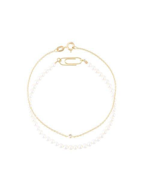 Uzerai Edits 18kt Gold Pearl & Diamond Bracelet Set