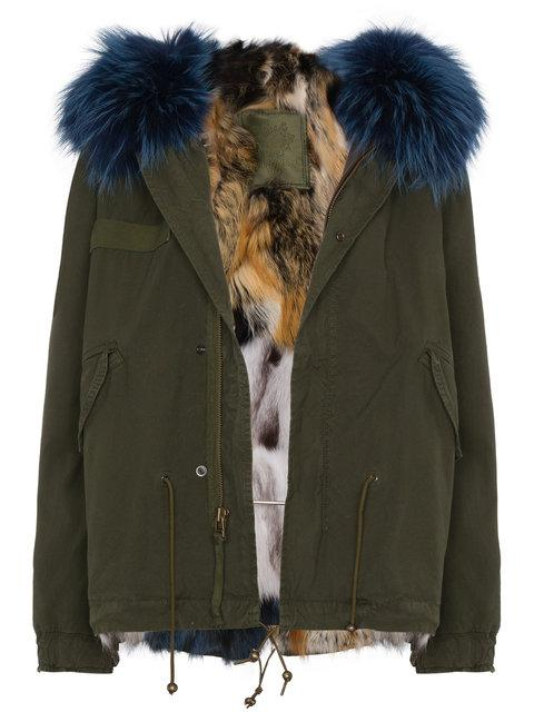 Mr & Mrs Italy Mini Patchwork Fur Lined Parka In Green