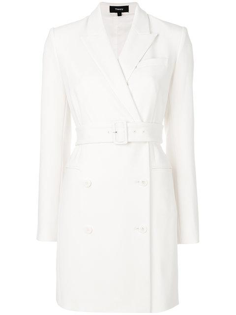 Theory Wrap Coat Dress - White