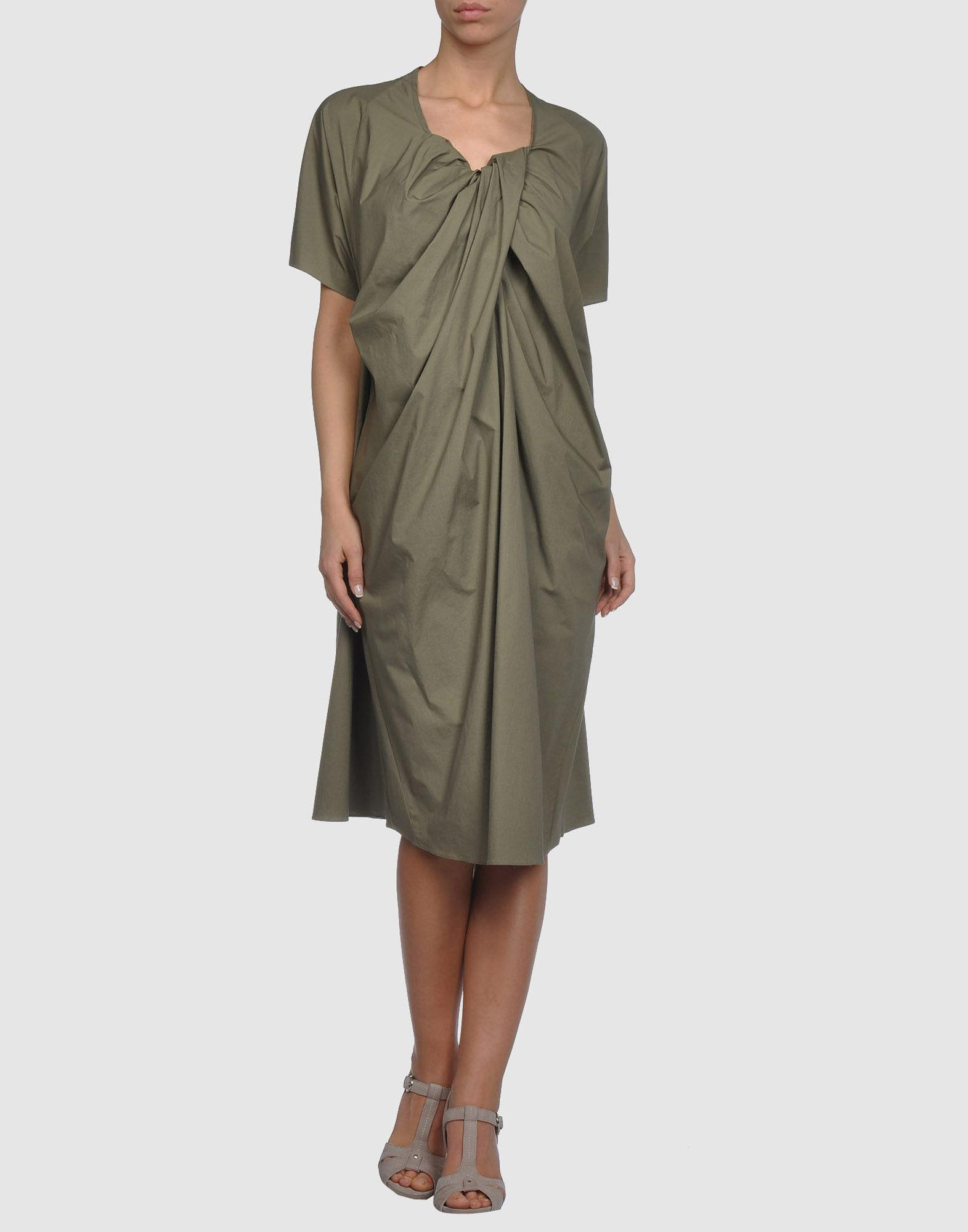 Hache 3/4 Length Dresses In Military Green