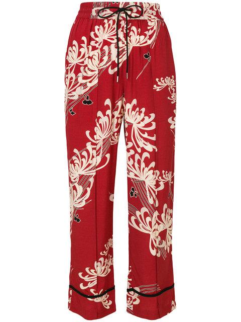 Mcq By Alexander Mcqueen Mcq Alexander Mcqueen Floral Print Cropped Trousers - Red