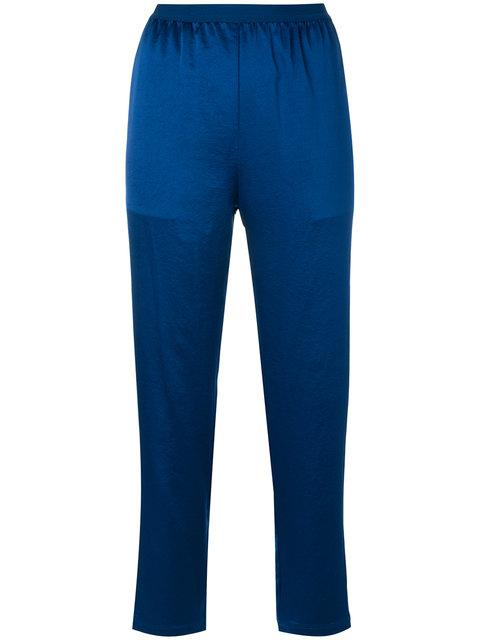T By Alexander Wang Wash & Go Elasticized Cropped Pants In Blue