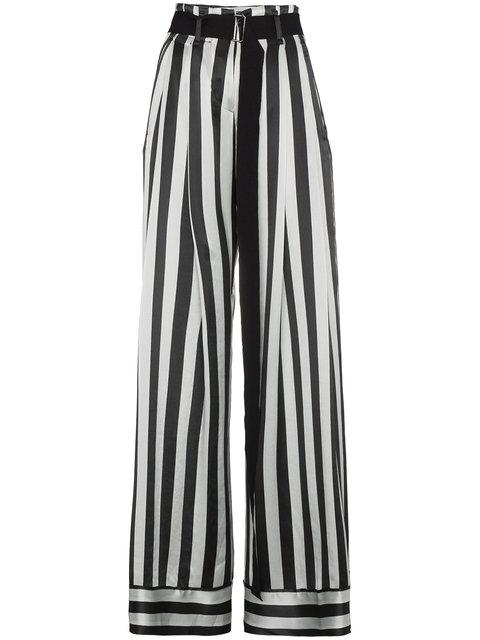 Ann Demeulemeester Striped Palazzo Pants In Green