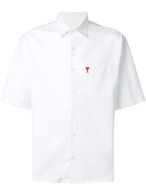 Ami Alexandre Mattiussi Logo-embroidered Short-sleeved Cotton Shirt In White