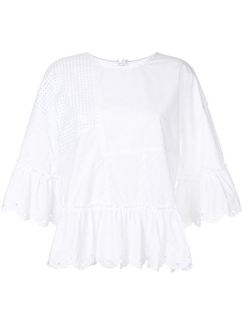 Mcq By Alexander Mcqueen Panelled Peplum Blouse In White