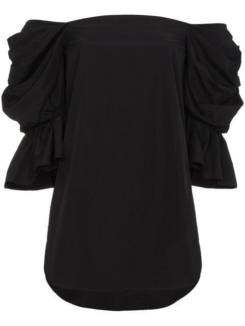 Monographie Black Cotton Bardot Puff Sleeve Top