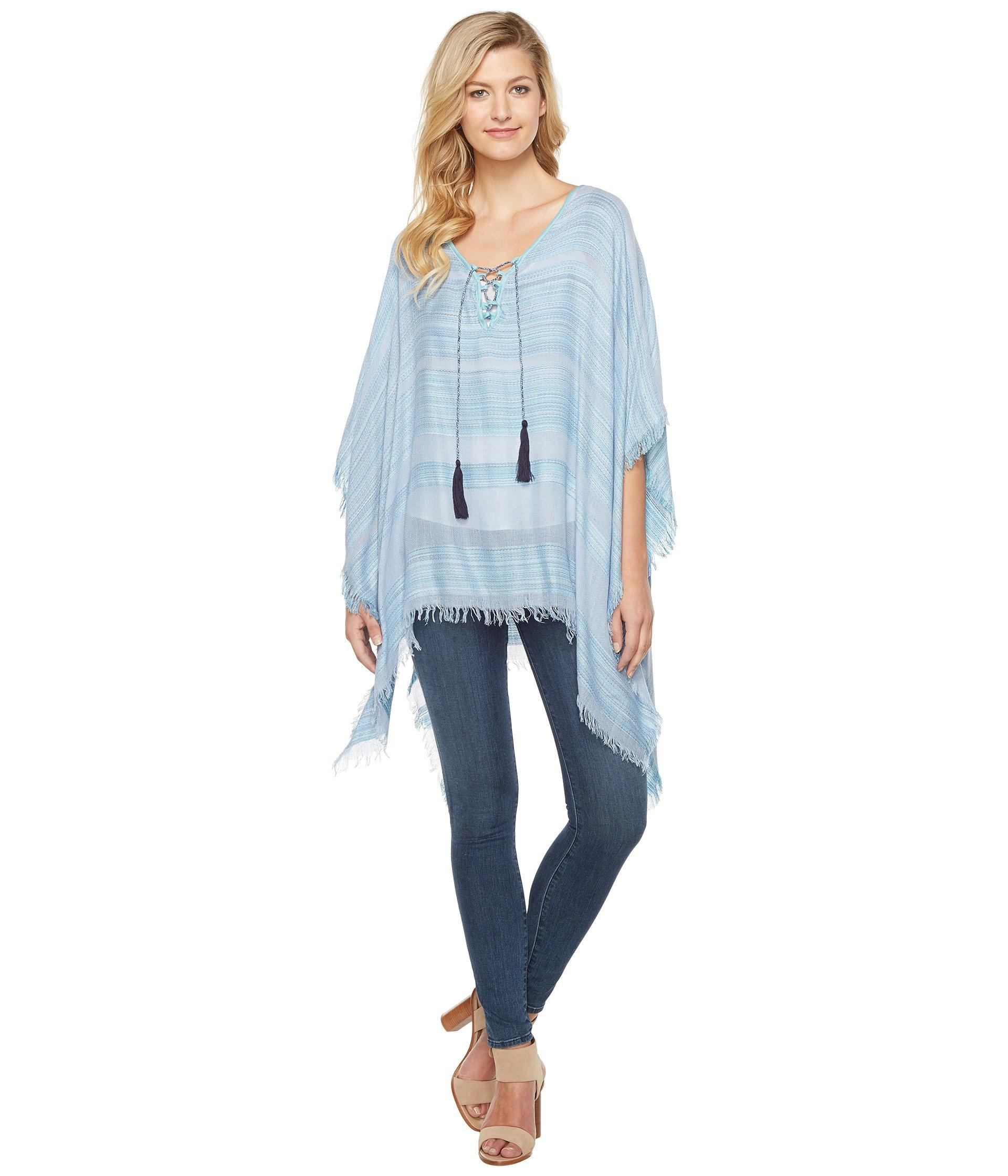 Vince Camuto Woven Spacedye Stripe Tassel Tie Up Poncho In Cashmere Blue