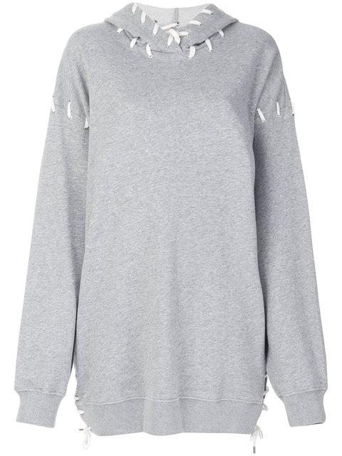 Jonathan Simkhai Oversized Whipstitched Cotton-jersey Hooded Top In Grey
