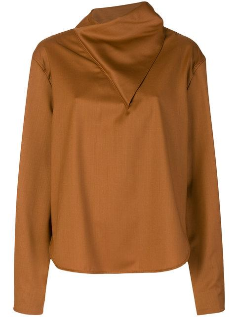 Vejas Asymmetric Handkerchief Blouse - Brown