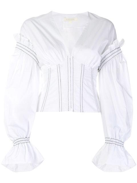 Jonathan Simkhai Puff Sleeve Corset Shirt  In White