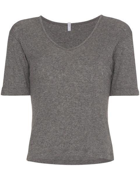 Lot78 V-neck Ribbed Short Sleeve T-shirt - Grey
