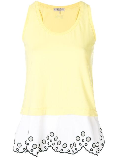 Emilio Pucci Open Embroidery Layered Tank
