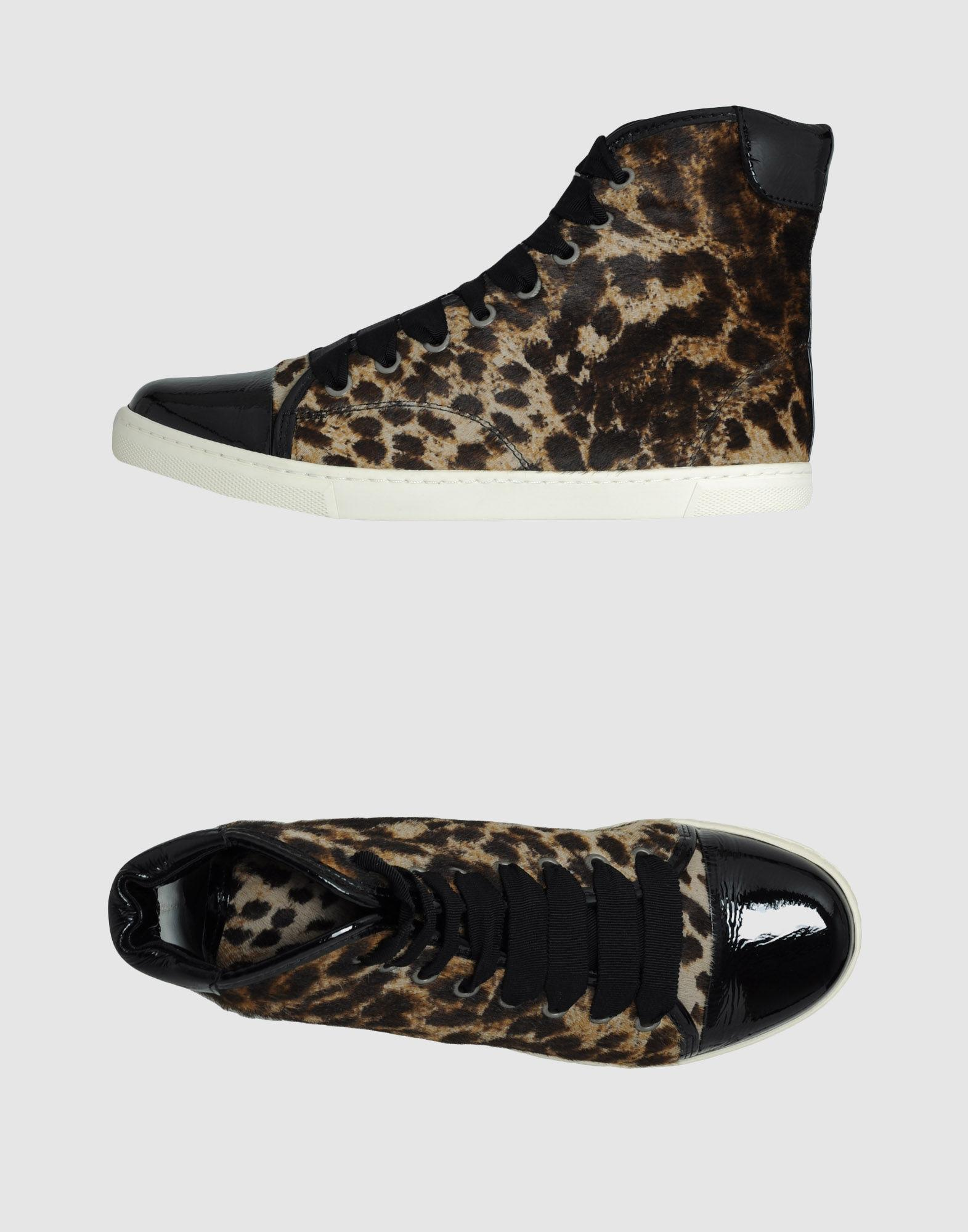 Lanvin High-top Sneakers In Dark Brown