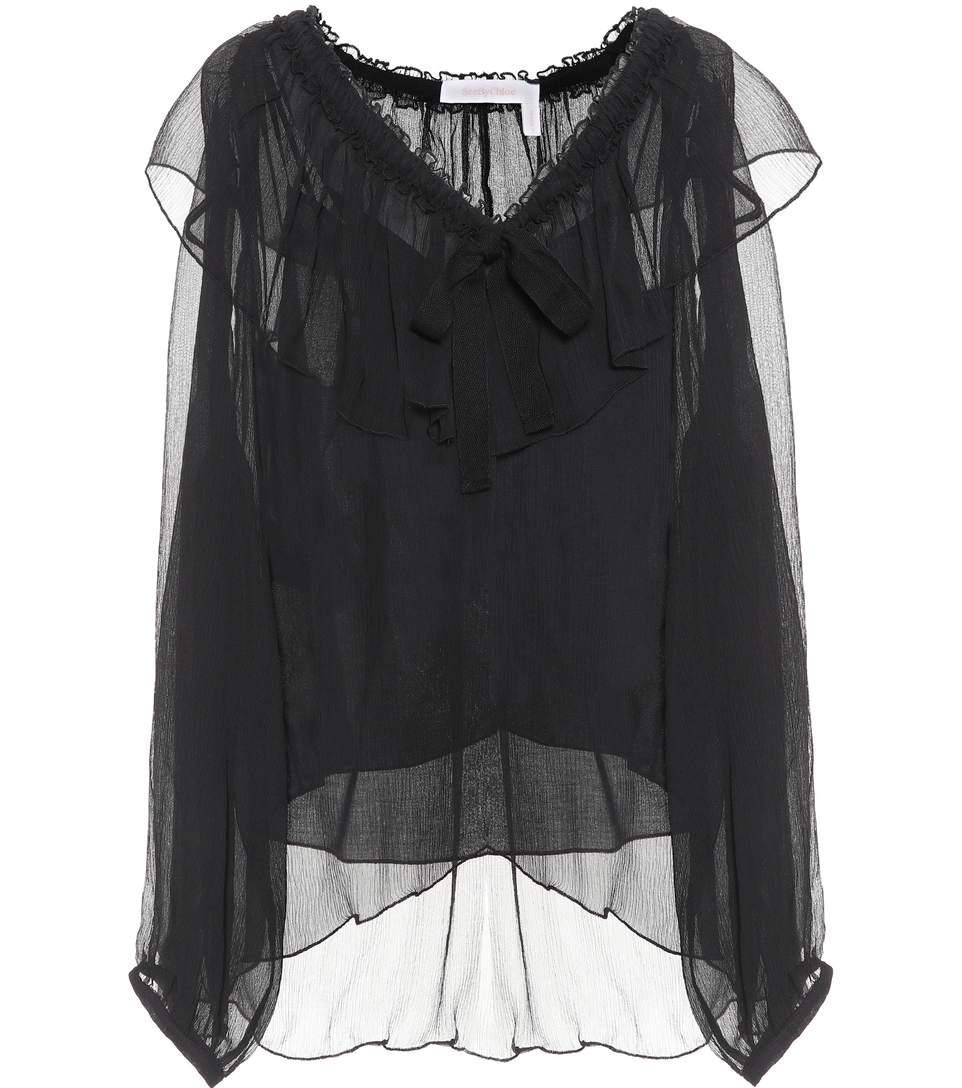 See By ChloÉ Silk-georgette Blouse In Black