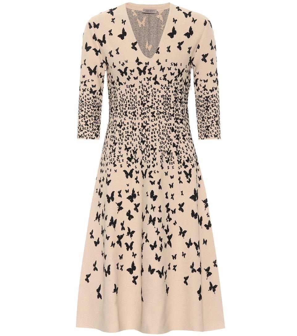 Bottega Veneta Butterfly-jacquard Dress In Pink