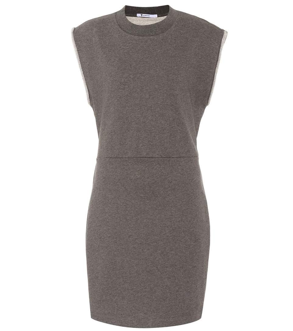 T By Alexander Wang Cotton Sweater Dress In Grey