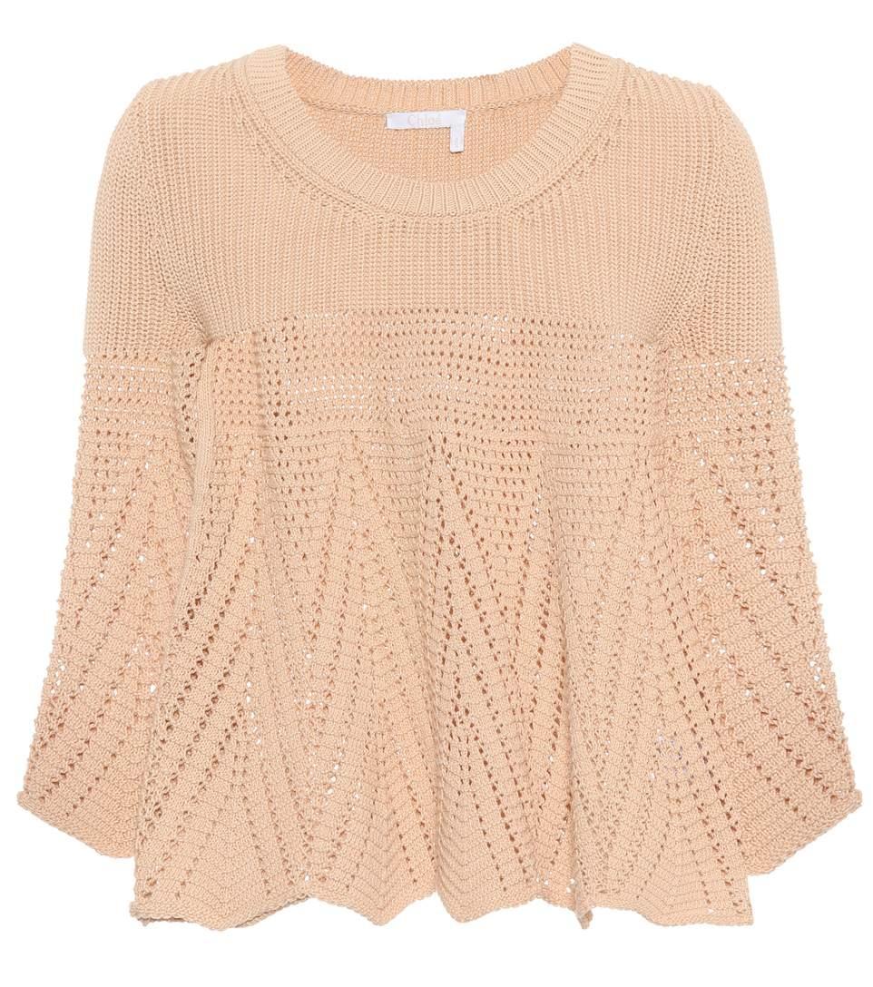 ChloÉ Crocheted Cotton Sweater In Beige