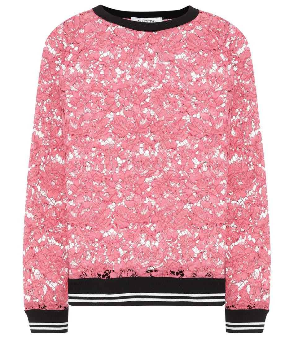 Valentino Lace Sweater In Pink