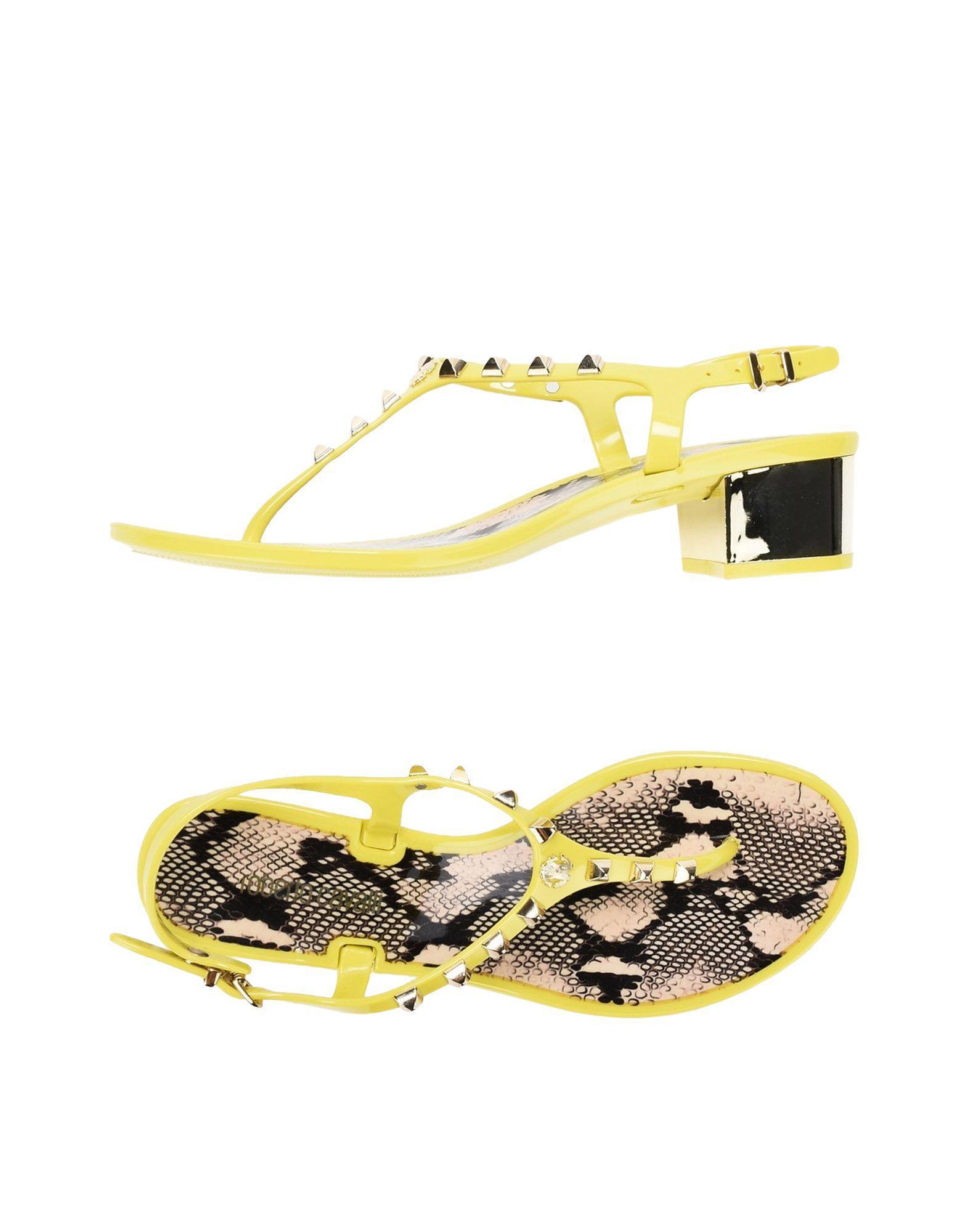 Roberto Cavalli Toe Strap Sandals In Yellow