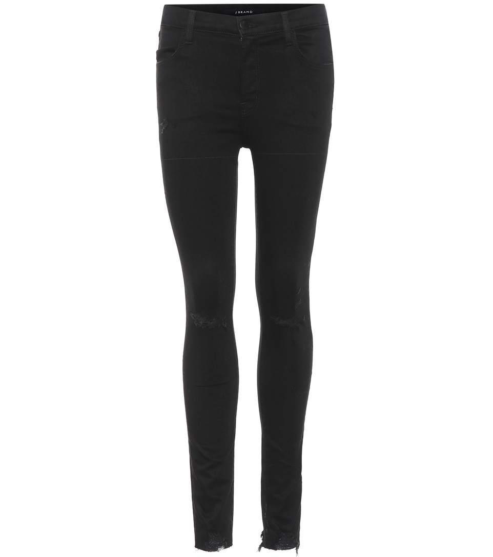 J Brand Maria High-waisted Skinny Jeans In Black