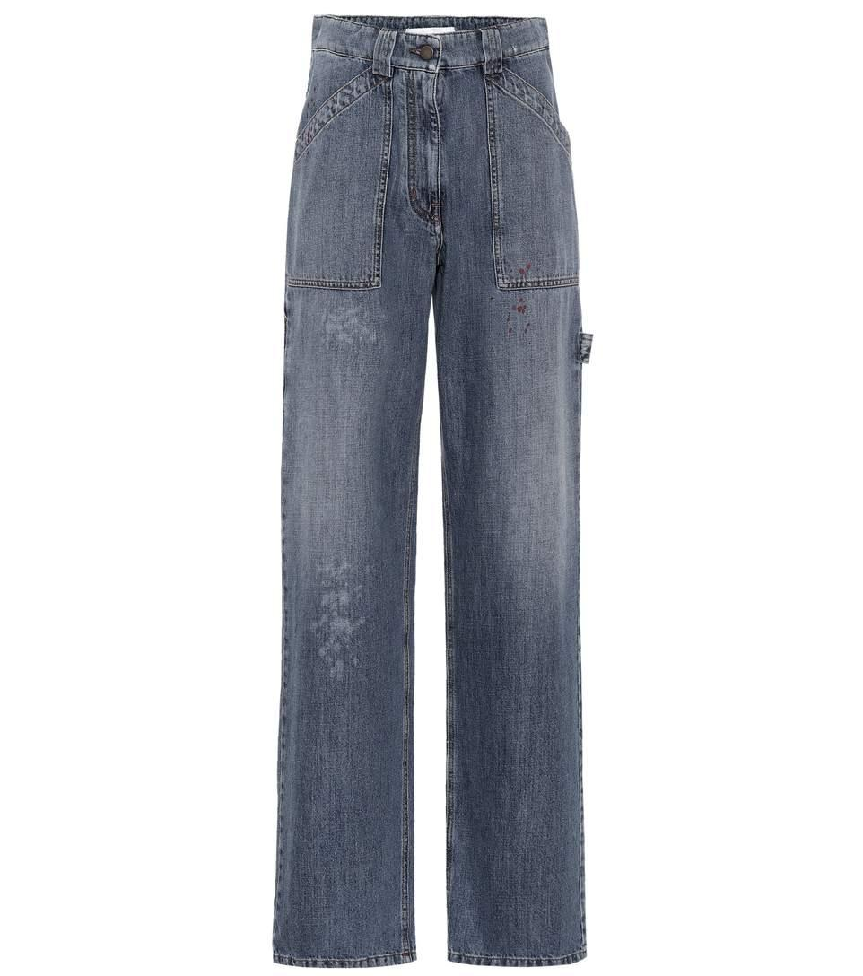 Valentino High-waisted Wide-leg Jeans In Blue
