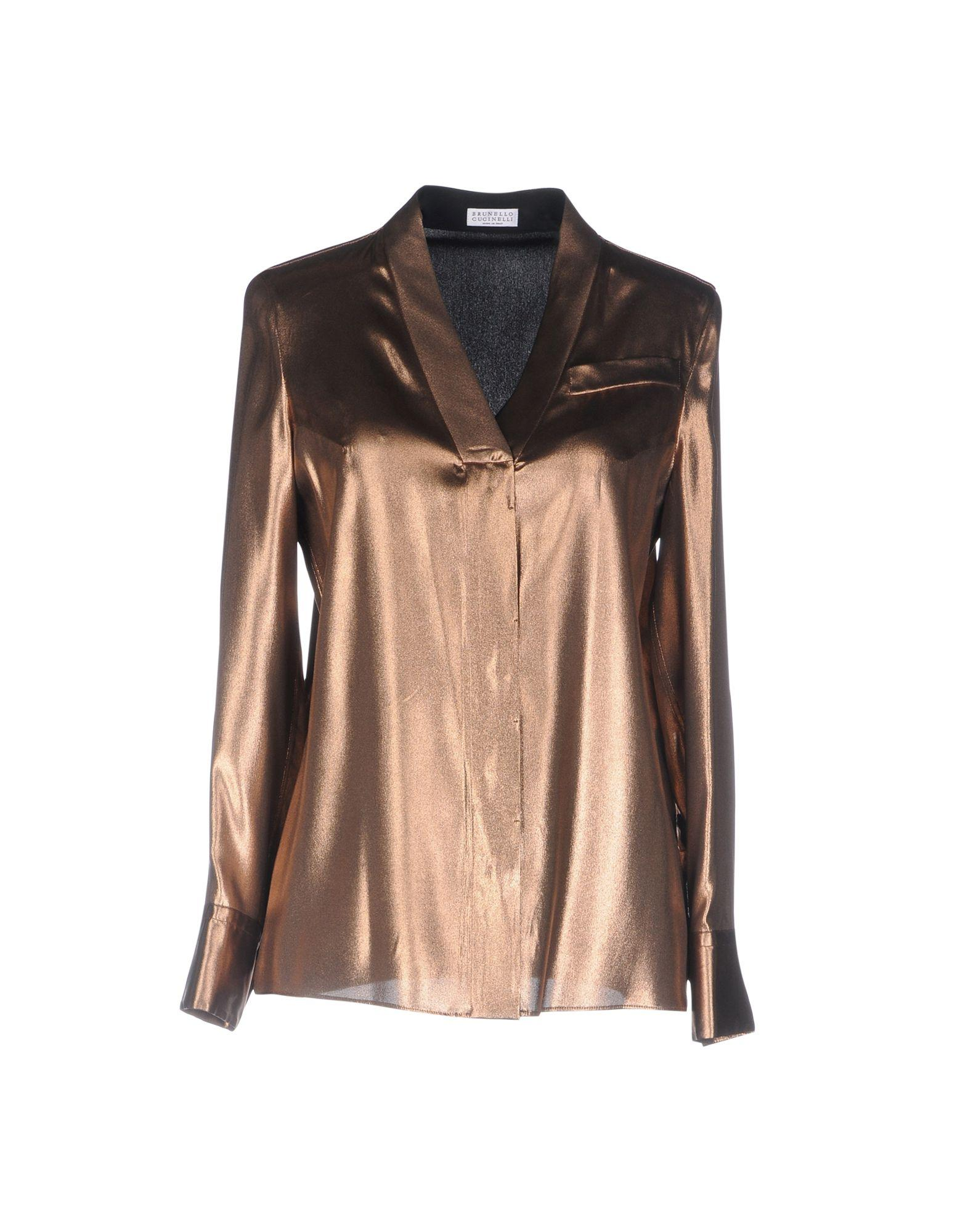 Brunello Cucinelli Silk Shirts & Blouses In Copper