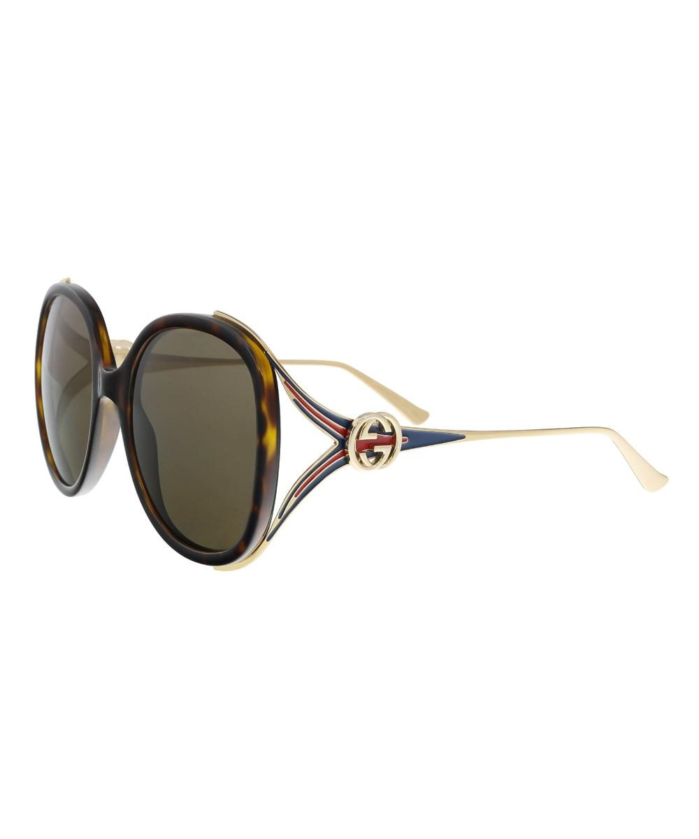 Gucci Gg0226/s 003 Havana/gold Oversized Round Sunglasses In Brown