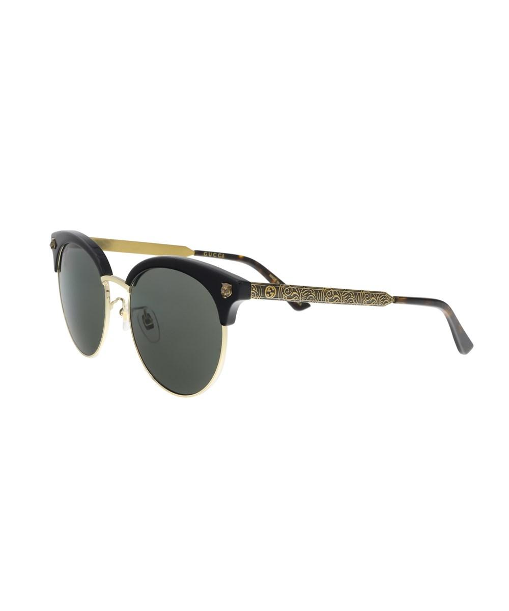 Gucci Gg0222sk 001 Black/gold Cateye Sunglasses