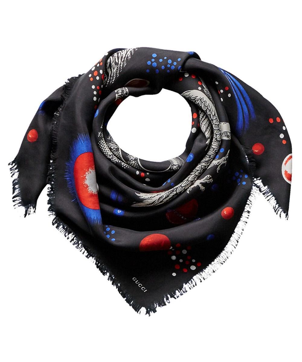 Gucci Space Animals Silk-blend Shawl In Black