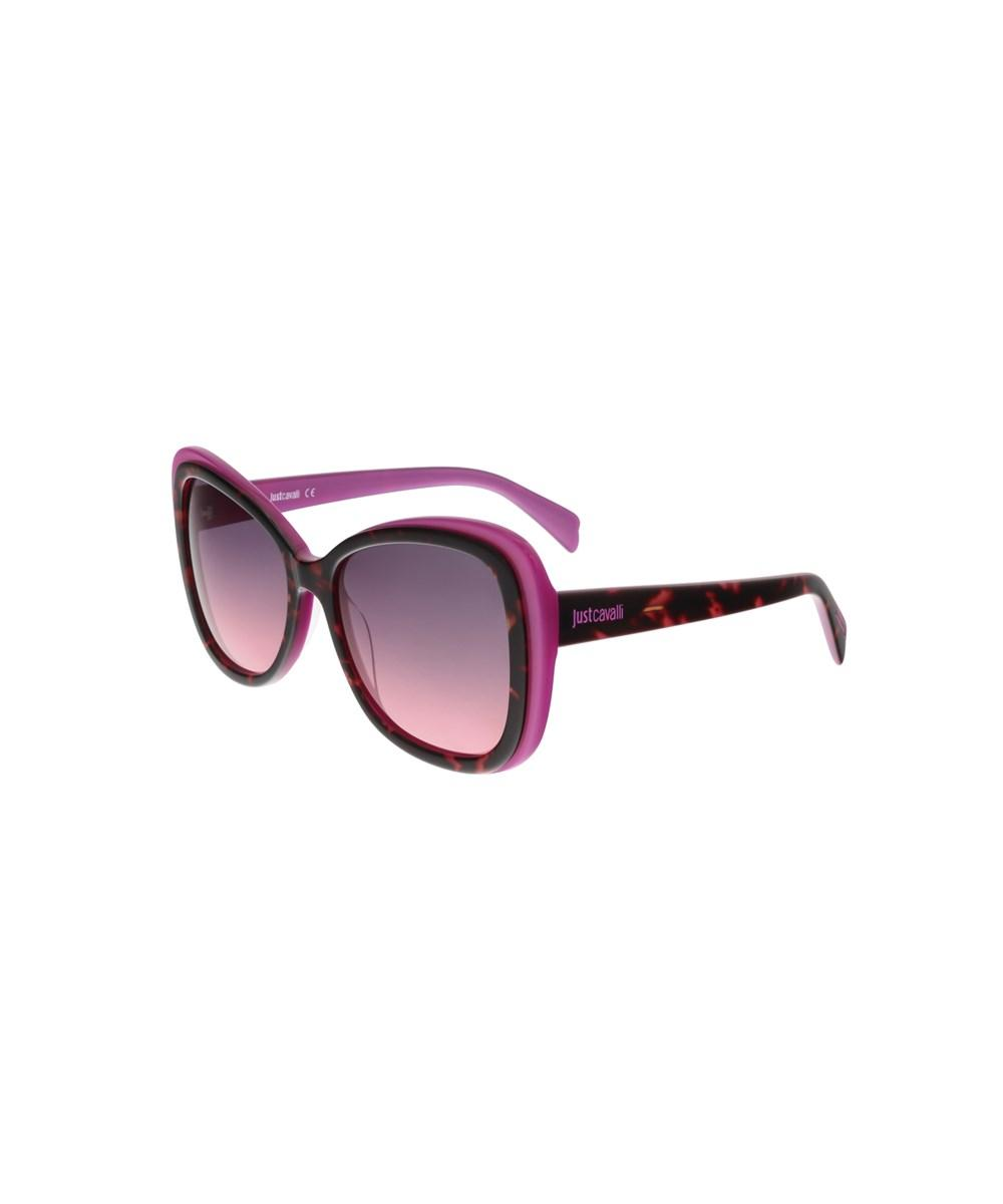 Just Cavalli Jc676s/s 55b Havana/fuschia Cateye Sunglasses In Brown