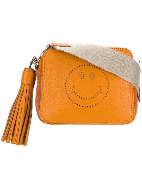 Anya Hindmarch Smiley Leather Crossbody Bag In Orange