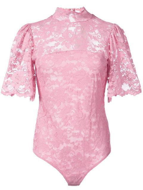 Ganni Flynn Lace Bodysuit In Pink