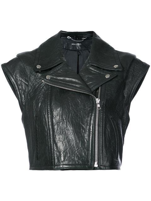 Yigal AzrouËl Sleeveless Boxy Leather Jacket