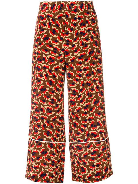 Marni Graphic Print Cropped Flared Trousers