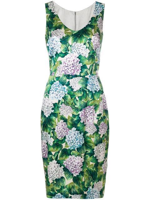 Dolce & Gabbana 플로럴 프린트 핏 드레스
