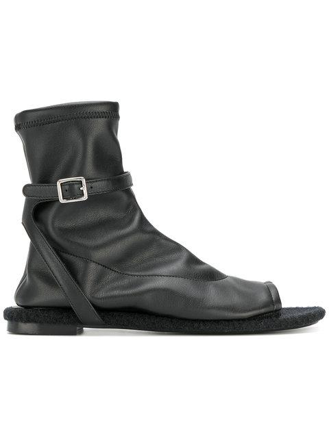 Mm6 Maison Margiela Buckled Open Toe Boots - Black