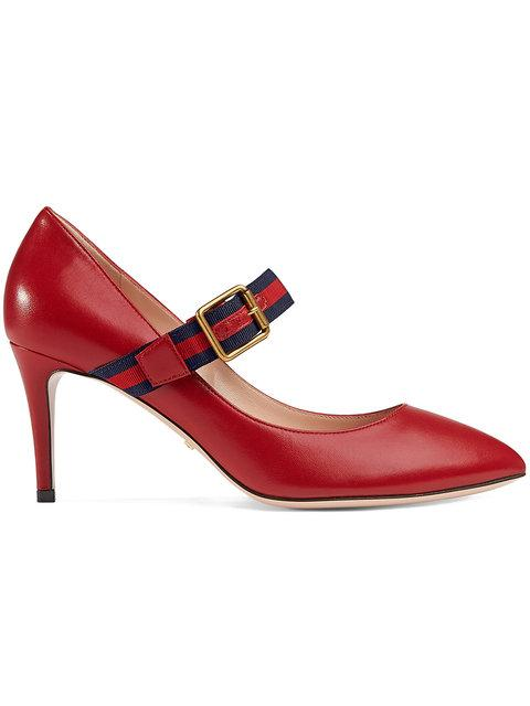 Gucci Sylvie Leather Pump In 6488 Hibiscus Red
