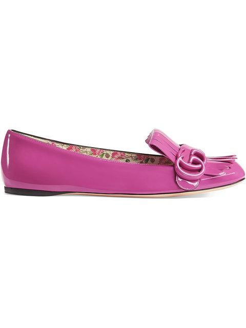 Gucci Patent Leather Flat Ballet Shoes In Pink