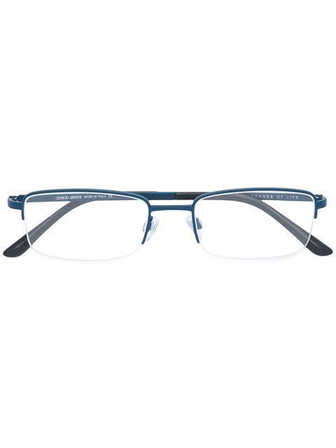 Giorgio Armani Half Rim Rectangle Glasses - Blue